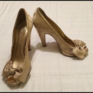 Gold Coach peep toes